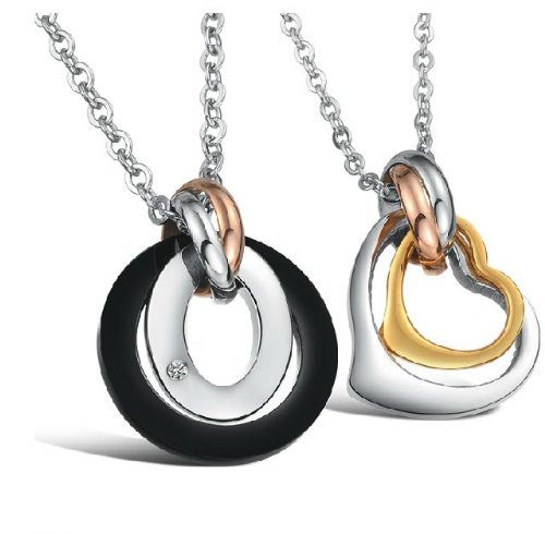 Opk Jewellery Necklaces Stainless Steel Neckwear Black And Gold Plated Rhinestone Chains Pendants 2 Ring Circular Couple Necklets