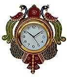 Divinecrafts Peacock Papier-Mache Wooden Wall Clock