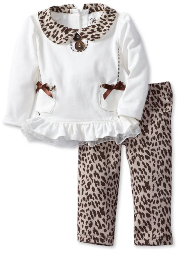 Young Hearts Baby-Girls Infant 2 Piece Pocket Cat Print Shirt And Pant, White, 18 Months