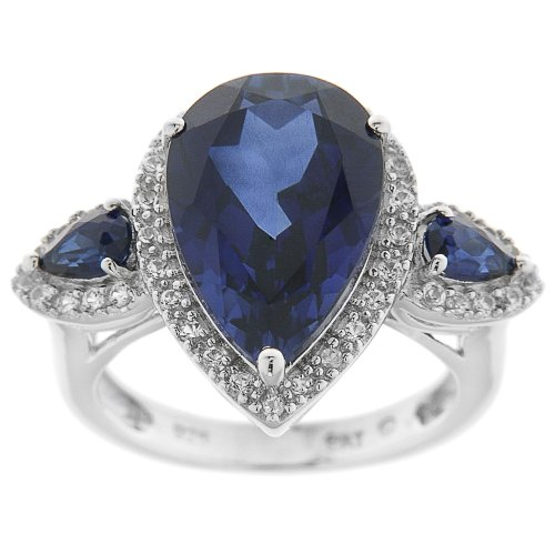Sterling Silver Created Blue Sapphire and Created White Sapphire Pear Shape Ring, Size 8