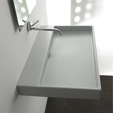 Urban 100 Wall-mount or Countertop Installation Bathroom Sink (With Faucet Hole)