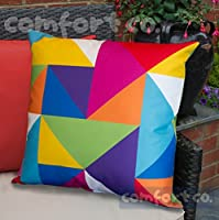 Waterproof Garden Cushions for Chairs - Fibre Filled Cushions for Seats and Benches - Colourful Outdoor Cushion (1, Technicolour Geometric) by Comfort Co®