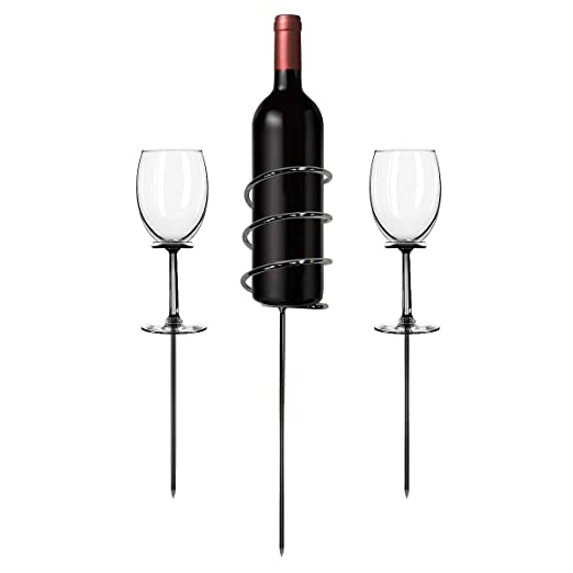 wine stem, wine bottle holder, stake in ground, outdoor
