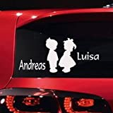 Rear Windscreen Sticker with Baby / Child and Name Approx. 18 x 12 cm Motif 13