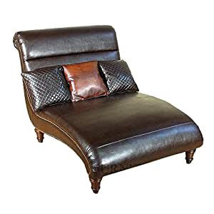Bonded brown leather double chaise lounge w for Bonded leather chaise lounge