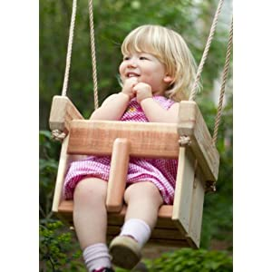 Buy wood baby or toddler swing cedar handmade porch or for Baby garden swing amazon