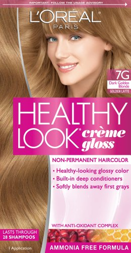 L'Oreal Paris Healthy Look Hair Color, 7G Dark Golden Blonde/Golden Latte (Semi Hair Dye Blonde compare prices)