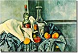 """Still Life with Peppermint Bottle"" by Paul Cezanne - Artwork On Tile Ceramic Mural 17"" x 25.5"" Kitchen Backsplash"
