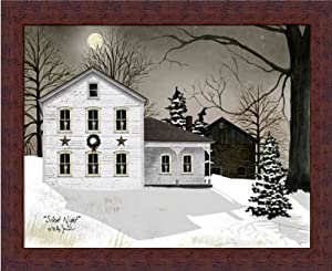 Silent Night by Billy Jacobs Snow Scene Americana Farm 18x14 in Framed Art Print Picture