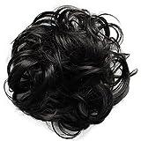 PRETTYSHOP Scrunchy Scrunchie Bun Updo Hairpiece Hair Ribbon Ponytail Extensions Curly Diverse Colors (black brown 2 G41A)