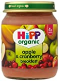 HiPP Organic Stage 1 From 4 Months Apple and Cranberry Breakfast 6 x 125 g (Pack of 2, Total 12 Pots)