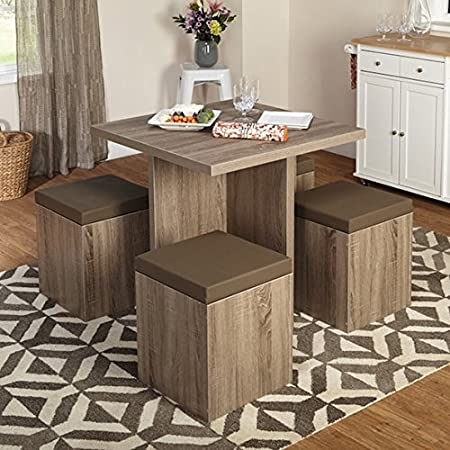 Simple Living 5-piece Baxter Dining Set with Storage Chair Ottomans