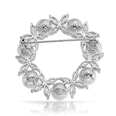 Bling Jewelry White Simulated Pearl Marquise CZ Flower Wreath Pin Rhodium Plated