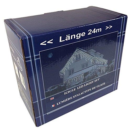 FDL Eiszapfen Lichtervorhang 480 LED, Flash-effekt, kaltweiß LEDs, Kabel weiß, Höhe Eiszapfen 27 cm und 45 cm, Trafo/120 Strengen/ Länge 24 m 47871