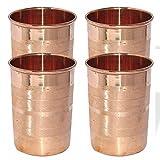 AsiaCraft Pure Copper Handmade Glass Tumbler, Set Of 4