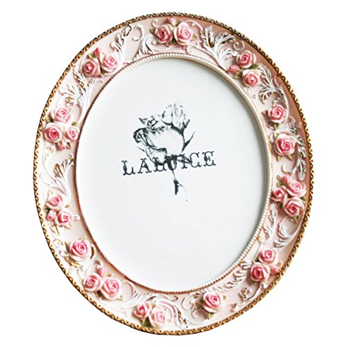 Telisha Retro Style Pink Rose Flower Oval Home Photo Frame Picture ...