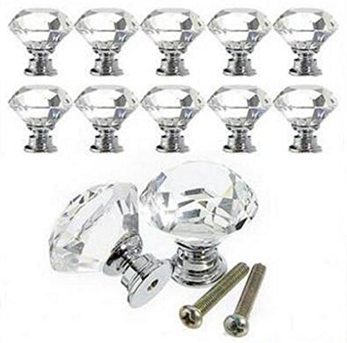 SMYLLS 10PCS Diamond Shape Crystal Glass Cabinet Knob/Cupboard Drawer Pull Handle
