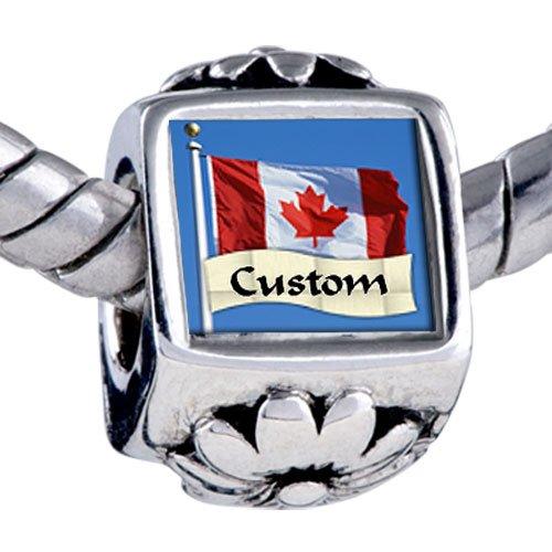 Pandora Style Bead Flag Canada Custom European Charm Bead Fits Pandora Bracelet