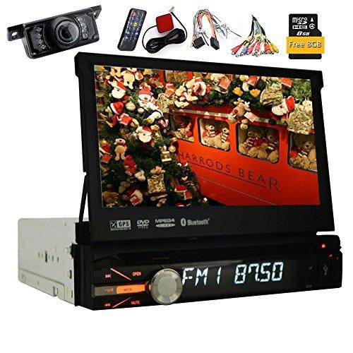 Omaggio fotocamera posteriore da 8 GB Mappa Radio Stereo 1 DIN 7Inch GPS di lettore DVD di navigazione in Dash Autoradio bluetooth 800MHZ CPU 256M di RAM 128MB ROM Headunit staccabile lato anteriore del ricevitore Pannello - Out Pannello