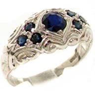 High Quality Solid 925 Sterling Silver Natural Sapphire band Ring – Finger Sizes 4 to 12 Available