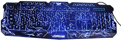 Bluefinger® Three Adjustable Color Gaming Backlit Keyboard With Cool Crack Pattern - Black For Windows 98/XP/2000/ME/VISTA/Win7/Win8 + BlueFinger Mouse Pad As Gift