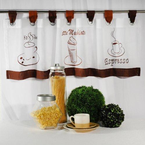 """Tischdeckenshop24 Stilvolle Gardine """"Kaffee-Vielfalt"""" mit Schlaufen / weißes Voile mit maschinenbestickten Kaffee-Motiven / 40 x 120 cm / Bistrogardine"""