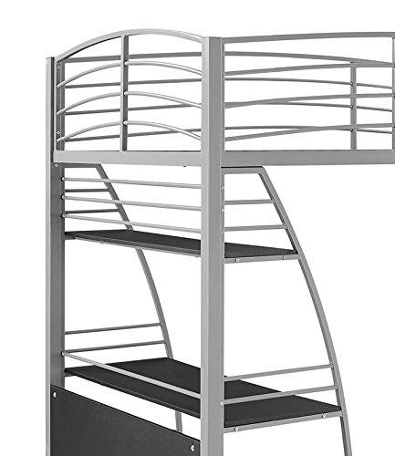 dhp studio loft bunk bed over desk and bookcase with metal frame twin gray ebay. Black Bedroom Furniture Sets. Home Design Ideas