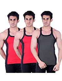 Zimfit Gym Vest - Pack Of 3 (Green_Red_Red)