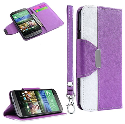 Mylife Lavender Purple + White {Modern Design} Faux Leather (Card, Cash And Id Holder + Magnetic Closing) Slim Wallet For The All-New Htc One M8 Android Smartphone - Aka, 2Nd Gen Htc One (External Textured Synthetic Leather With Magnetic Clip + Internal S