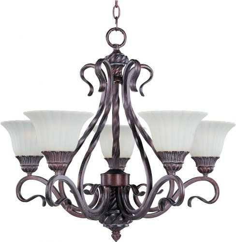 B000B2YPTY Maxim Lighting 2774SVGB Greek Bronze Finished Chandelier with Soft Vanilla Glass Shades