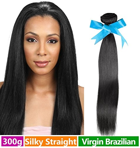 Rechoo Brazilian Virgin Remy Human Hair Extension Weave 3 Bundles 300g - Natural Black,18