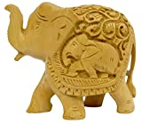Pure Wooden Material Elephant Up Trunk in Fine Finishing Handicraft art by Bharat Haat BH03696