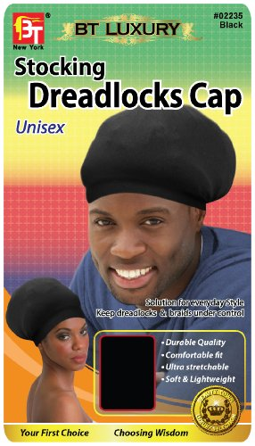Stocking Dreadlocks Cap - Black, Comfortable fit, stretchable, super stretchy, soft, durable, lightweight, stays on your head, unisex (Dreadlock Stocking Cap compare prices)