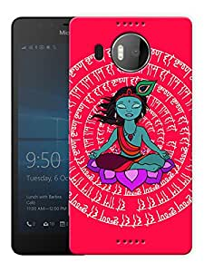 """Humor Gang Krishna Meditating Peace Mantra- Red Printed Designer Mobile Back Cover For """"Nokia Lumia 950 XL"""" (3D, Matte, Premium Quality Snap On Case)"""