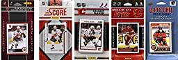 NHL Calgary Flames 5 Different Licensed Trading Card Team Sets, Brown, One Size