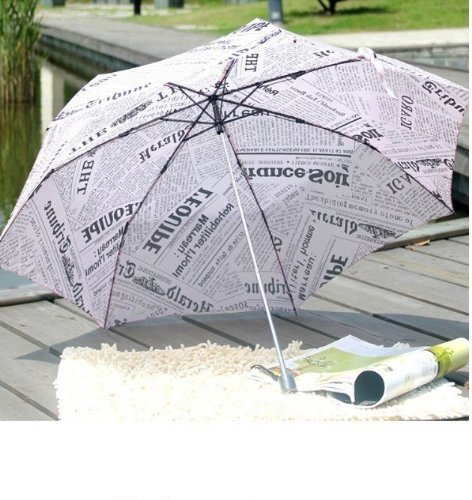 High Quality New Fashion Ultralight Creative English Newspapers Foldable Umbrella / Rain and Sun Protection Umbrella with Long Handle