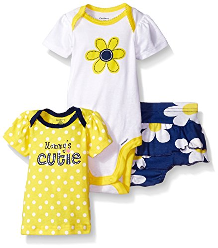 Gerber Baby Three-piece Bodysuit Lap-shoulder Shirt and Skort Set