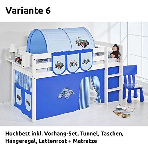 Hochbett Spielbett JELLE Trecker Blau Blau mit Vorhang, weiß, Variante 6