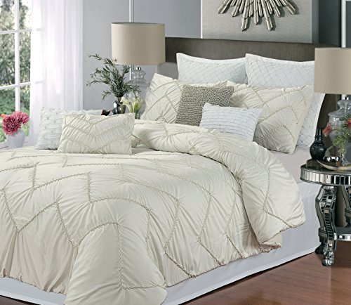 Isabella 9-Piece Comforter Set, Queen Size, Beige; Sheet Set, Bedskirt, Shams And Decorative Pillow Included front-966547