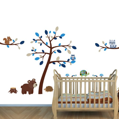 Blue Brown Woodland Animals With Tree Forest Wall Decals For Kids front-281587