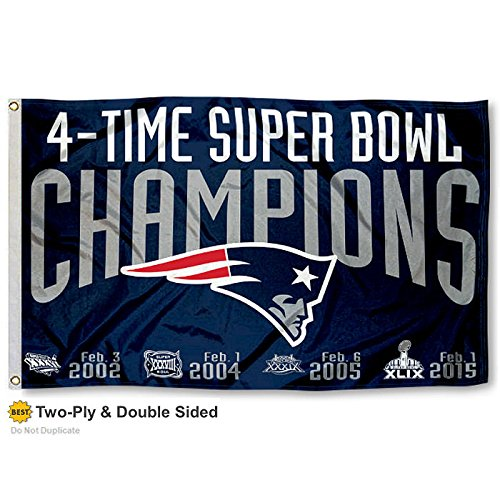 New England Patriots Double Sided 4 Time Super Bowl Champions Flag (Patriots Banner Champions compare prices)