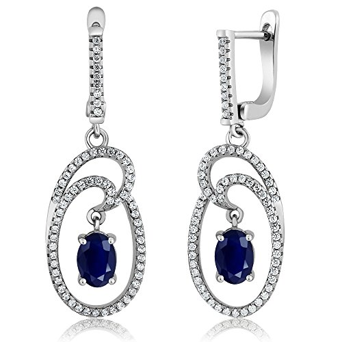 348-Ct-Oval-Blue-Sapphire-Gemstone-925-Sterling-Silver-Dangling-Earrings-15-Inch
