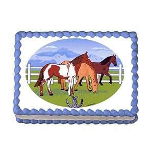 Edible Cake Images Horses : 1/4 Sheet ~ Grazing Horses Birthday ~ Edible Image Cake ...