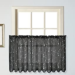 United Curtain Savannah Kitchen Tiers, 51 by 24-Inch, Black, Set of 2