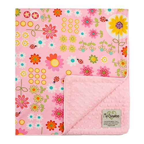 "My Blankee Daisy Dance Organic Cotton Pink w/ Minky Dot Pink Baby Blanket, 30"" X 35"""