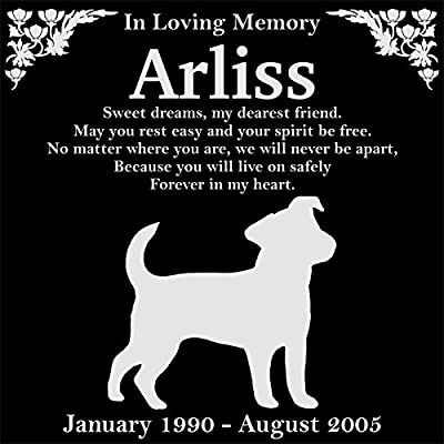 """Personalized Jack Russell Terrier Dog Pet Memorial 12""""x12"""" Engraved Black Granite Grave Marker Head Stone Plaque ARL1"""