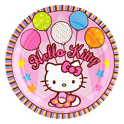 Hello Kitty Baloons Dreams Paper Dessert Plates features Hello Kitty Holding 5 Balloons. Each package includes 8 plates. Each plate measures 7