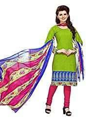 PADMiNi Ethnicwear Women's Dress Material Green 1004