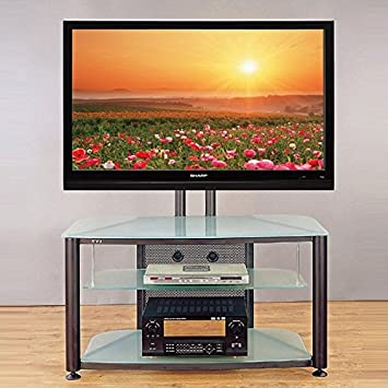 Silver Flat Panel TV Stand w Frosted Glass Shelves