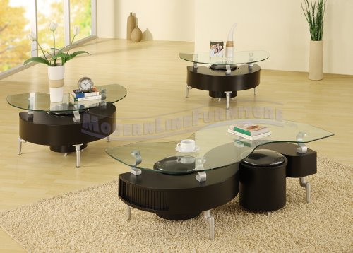 Modern Furniture Black Coffee Table and Two End Tables Featuring Four Ottomans
